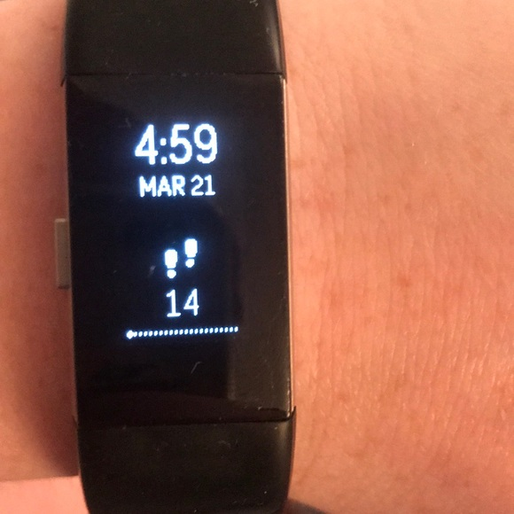 Black Fitbit Charge 2 with sport band M/L
